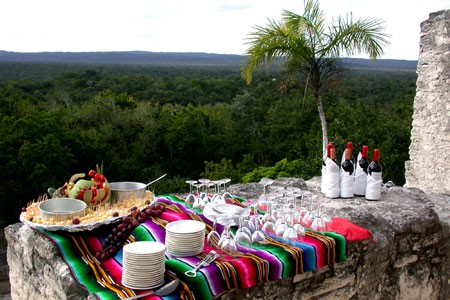 Sunset drinks on top of a Maya Temple