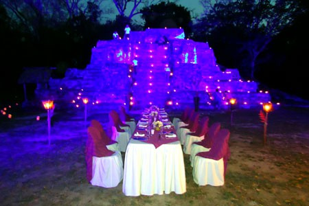 Dining in front of Maya temples in the jungle