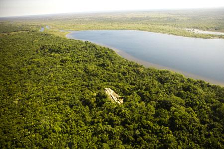 Lamanai Maya Temple Site from Private Flight