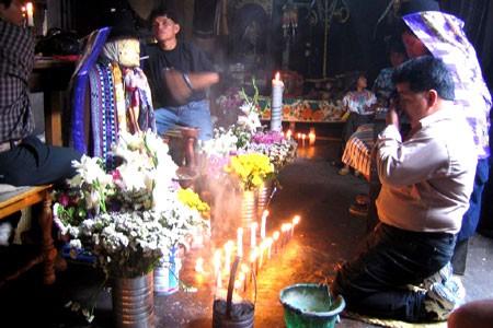 Maximon the famous maya god here in Santiago, Lake Atitlan, Guatemala