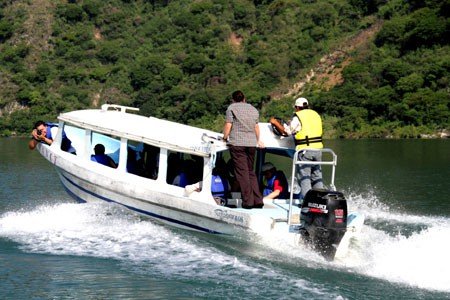 Pangas are the way to get about Lake Atitlan, Guatemala