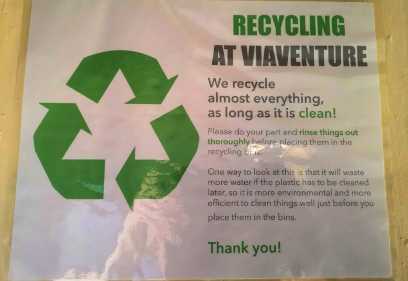 Recycling at Viaventure Central America Office