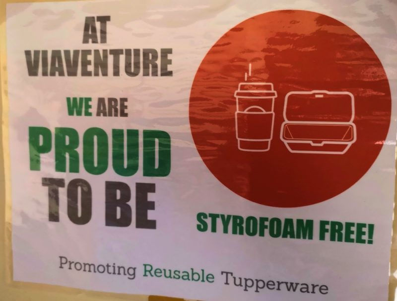 Viaventure Office is Styrofoam Free