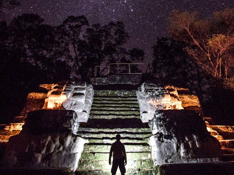 archaeological-sites-guatemala-uaxactun-night