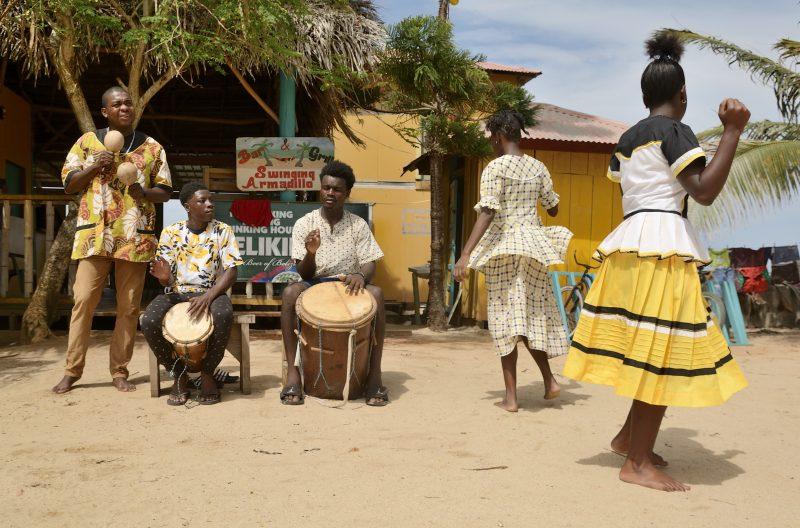 garifuna dancers in hopkins with viaventure belize